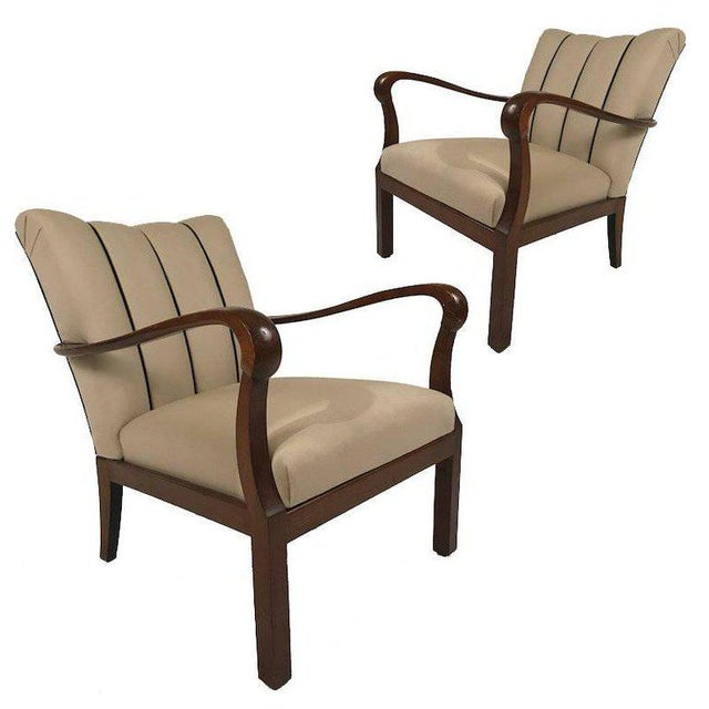 Mid-Century Modern Danish Modern Mahogany Open Armchairs - a Pair For Sale - Image 3 of 6