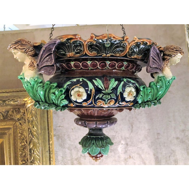 """Pair Antique 19th Century Majolica Jardinieres, Circa 1870. Fixture is 21"""" High on Chain and 8"""" High without chain."""