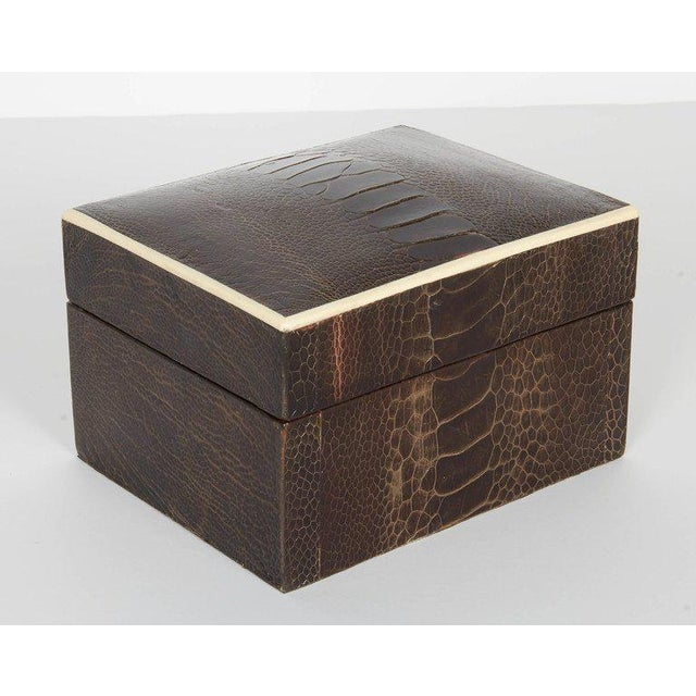 Pair of R & Y Augousti Decorative Boxes in Exotic Ostrich Leather With Bone Inlay For Sale - Image 11 of 13