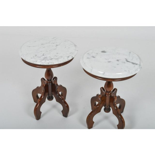 Italian Marble-Top Accent Side Tables - a Pair For Sale In Providence - Image 6 of 12