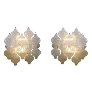 1960s Pair of Austrian Julius August Kalmar Crystal Glass Bulb Sconces For Sale