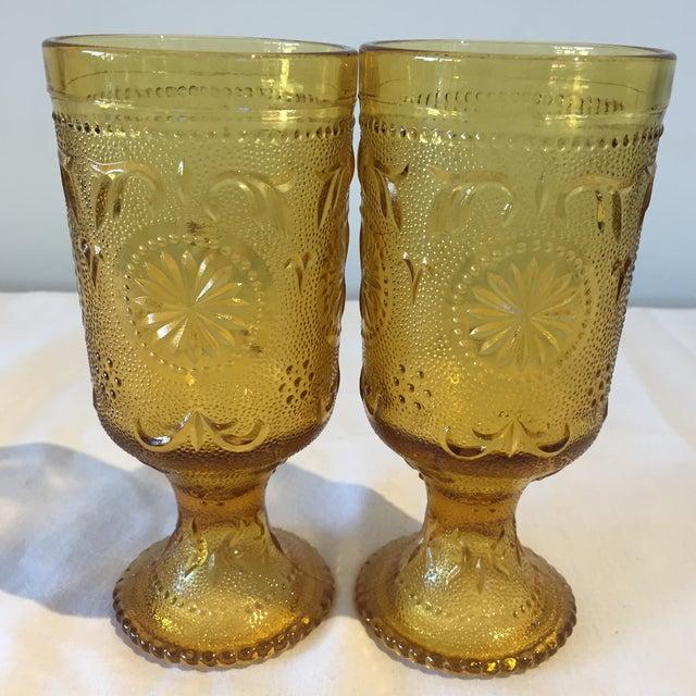 Vintage Amber Vintage Goblets - A Pair - Image 5 of 5