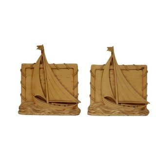 1920s Wood Sailboat Bookends - 2