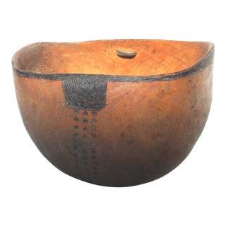 Vintage Handcarved Wooden African Bowl For Sale
