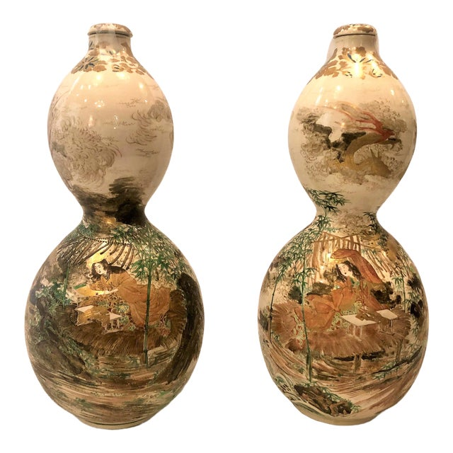 Pair Antique Japanese Double Gourd Shaped Satsuma Porcelain Bottle Urns, Circa 1860. For Sale