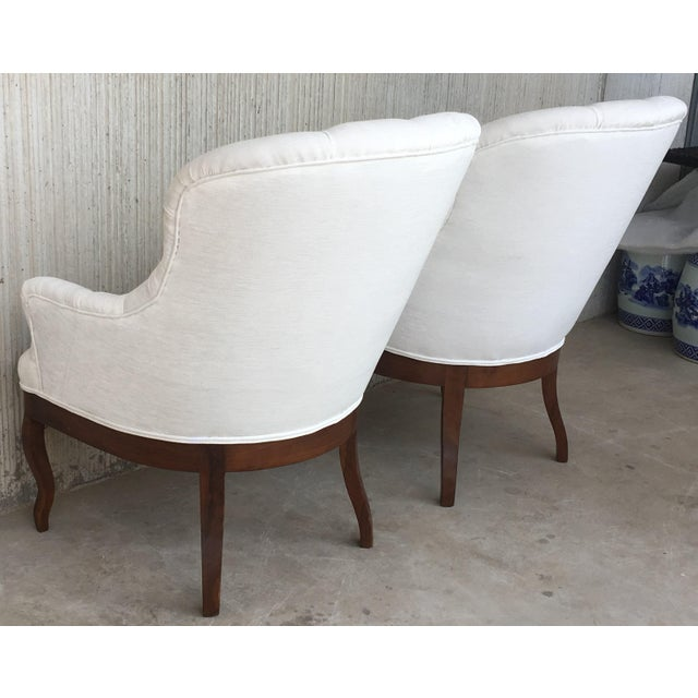 Late 19th Century 19th Pair of Louis XV Bergère Armchairs in White Velvet For Sale - Image 5 of 12