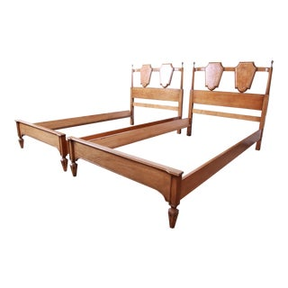 Romweber Mid-Century Hollywood Regency Burl Wood and Brass Twin Beds, Pair For Sale