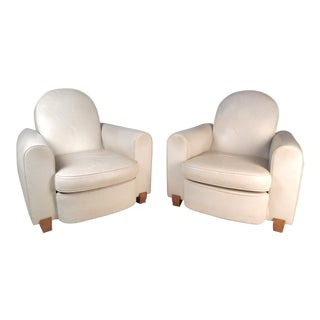 Elegant Pair of Leather Art Deco French Club Chairs by Jules Leleu For Sale
