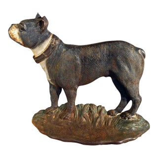 "Circa 1920 Bradley and Hubbard Co. Meriden Ct. Cast Iron Doorstop Boston Terrier ""dandy"" For Sale"