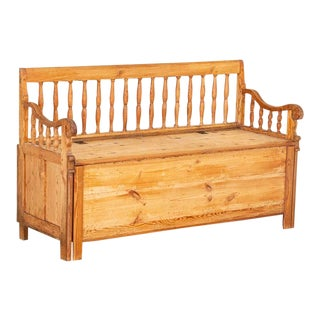 Antique Pine Bench With Spindle Back and Storage For Sale