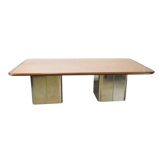Milo Baughman Mid Century Modern Large Burl Wood Double Pedestal Chrome Base Dining Table