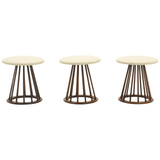 Three Stools by Arthur Umanoff, Walnut Spindle Base, Leather Seats, Excellent For Sale