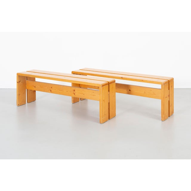 Pair of Les Arcs Pine Benches by Charlotte Perriand For Sale - Image 13 of 13