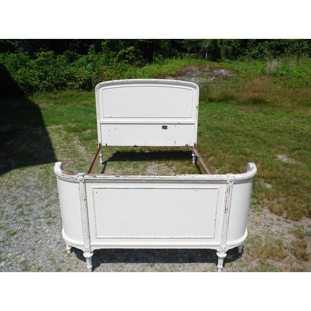 1920s Antique Solid Wood White Painted Cottage Shabby Chic Double Full Bed C.1920's For Sale - Image 5 of 13