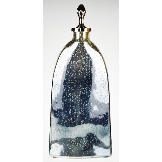 Art Deco Vintage Mercury Glass Style Decorative Vase With Topper For Sale - Image 3 of 13