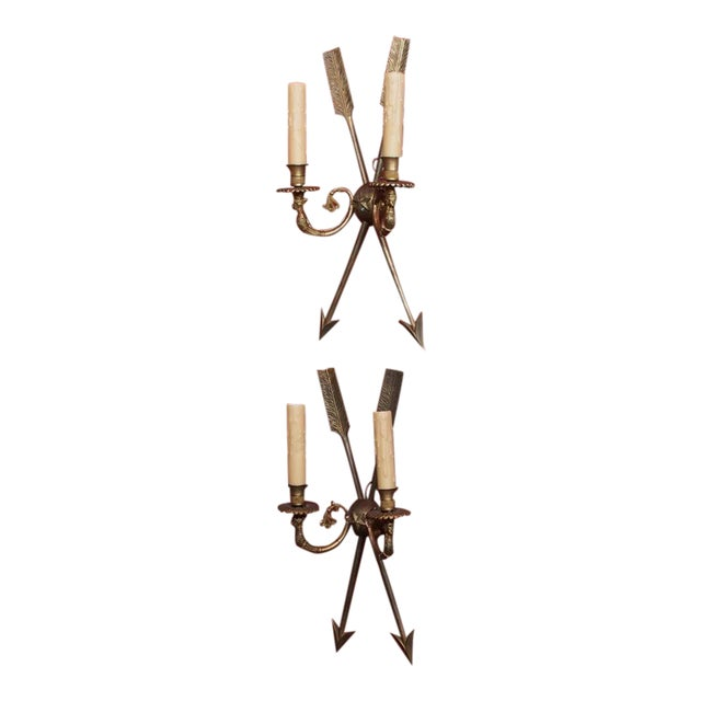 French Directoire Style Bronze Sconces - Pair For Sale