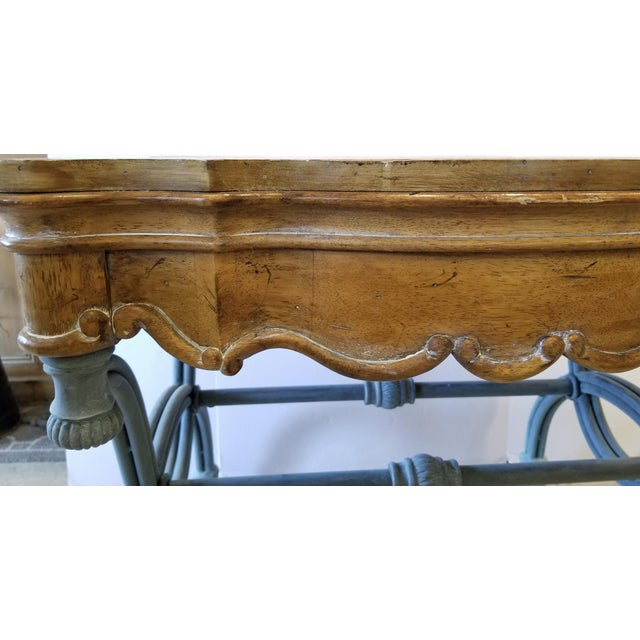 1990s Italian Burl Wood & Iron Side Table For Sale - Image 6 of 7