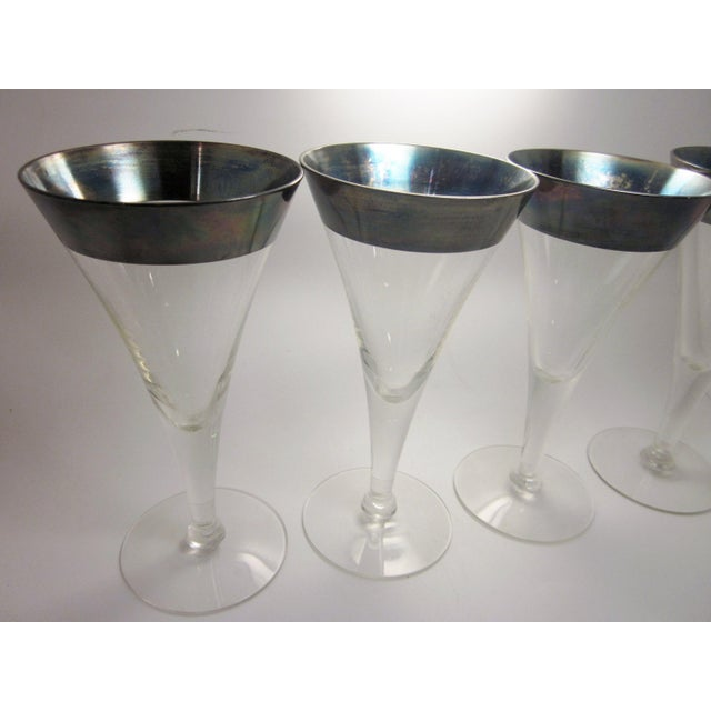 Vintage Mid Century Modern Dorothy Thorpe Style Sterling Silver Rimmed Triangle Fluted Wine Martini Cocktail Stemware - Set of 8 For Sale In Chicago - Image 6 of 10