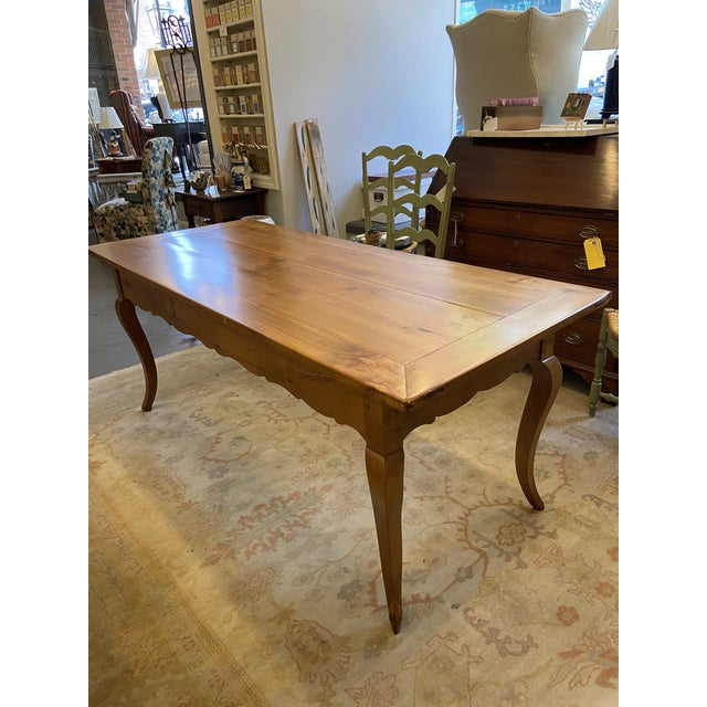 Brown Antique French Country Handmade Cherry Farm Dining Table For Sale - Image 8 of 8