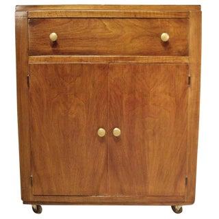 1950s Mid-Century Modern Wood Bar Cart For Sale
