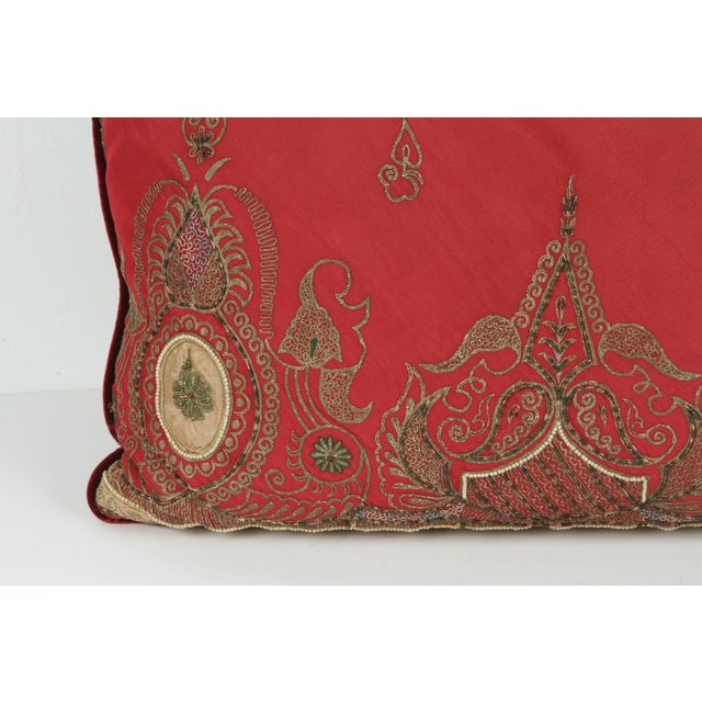 Gold Pair of Antique Turkish Ottoman Silk Pillows With Metallic Threads For Sale - Image 8 of 13