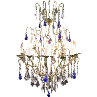 Large Maria Theresa Style 12-Arm Chandelier Blue For Sale