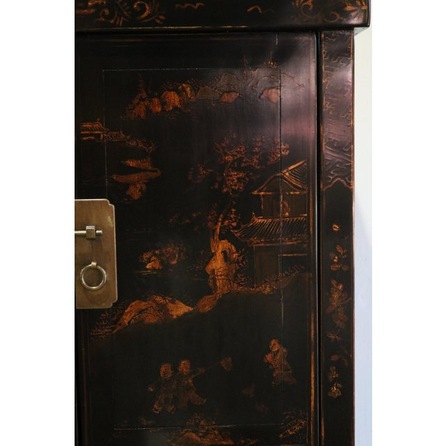 Black Late 20th Century Black Lacquer and Gilt Painted Cabinet For Sale - Image 8 of 11