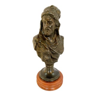 Bronze Bust of an Arabian Man on Marble Plinth For Sale