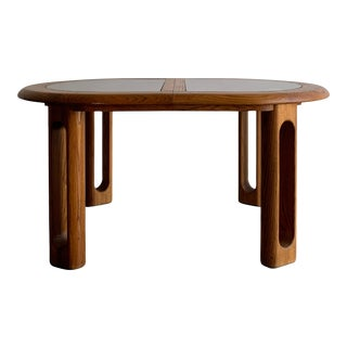 1970s Mid-Century Modern Sculpted Oak and Glass Dining Table For Sale