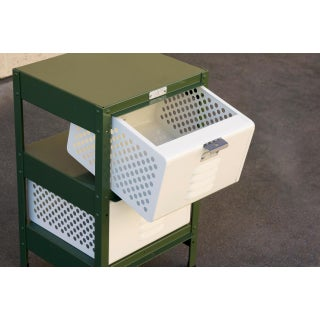 1 X 2 Locker Basket Unit in Army Green and Pearl, Custom Made to Order Preview