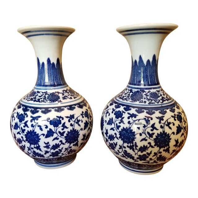 Vintage Asian Blue Vases - a Pair For Sale
