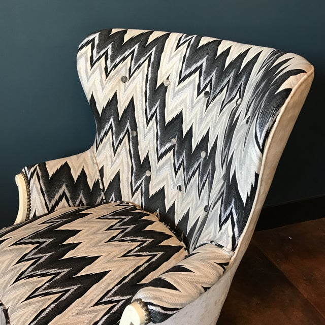 Custom Brass Tacked Wingback Chair - Image 8 of 9