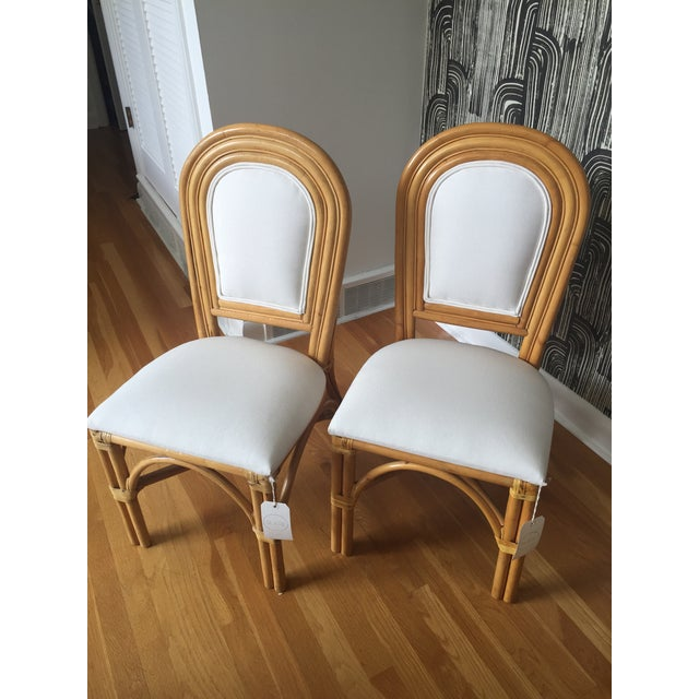 Upholstered Rattan Side Chairs - A Pair - Image 2 of 6