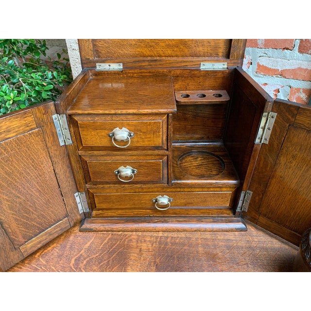 Brown Antique English Tiger Oak Pipe Smoke Cabinet Card Game Box Humidor Lift Top For Sale - Image 8 of 13