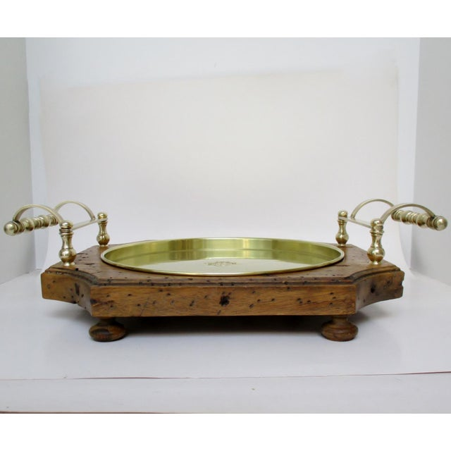 Rustic Wood & Brass Serving Tray For Sale - Image 3 of 8