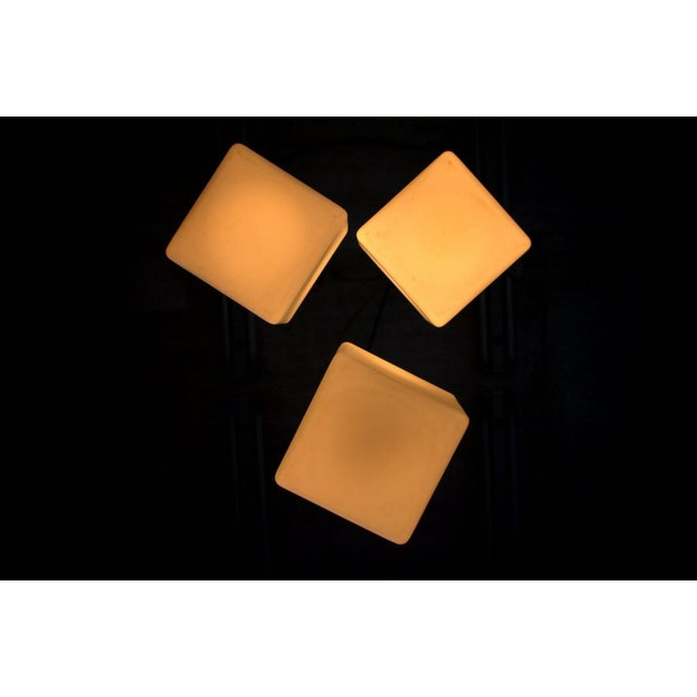 """Set of three """"flying glass cubes"""" pendants by Stilnovo, Italy. Very good condition. Worldwide shipping."""