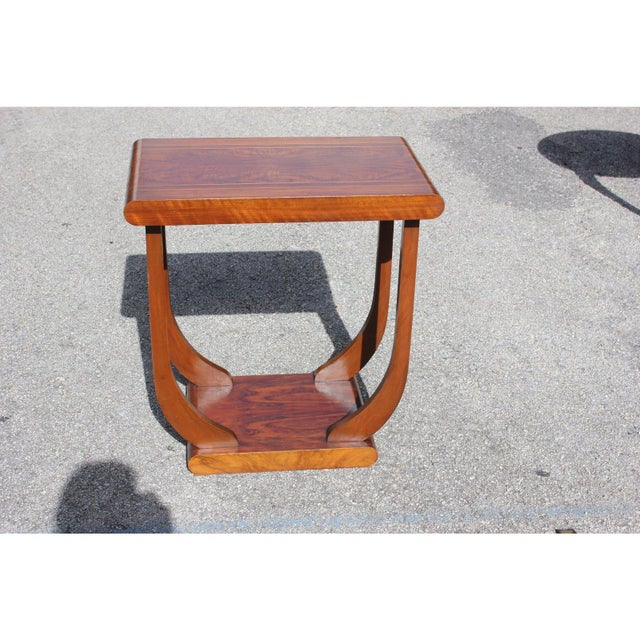 Art Deco 1940s Art Deco Exotic Walnut Side Table For Sale - Image 3 of 12