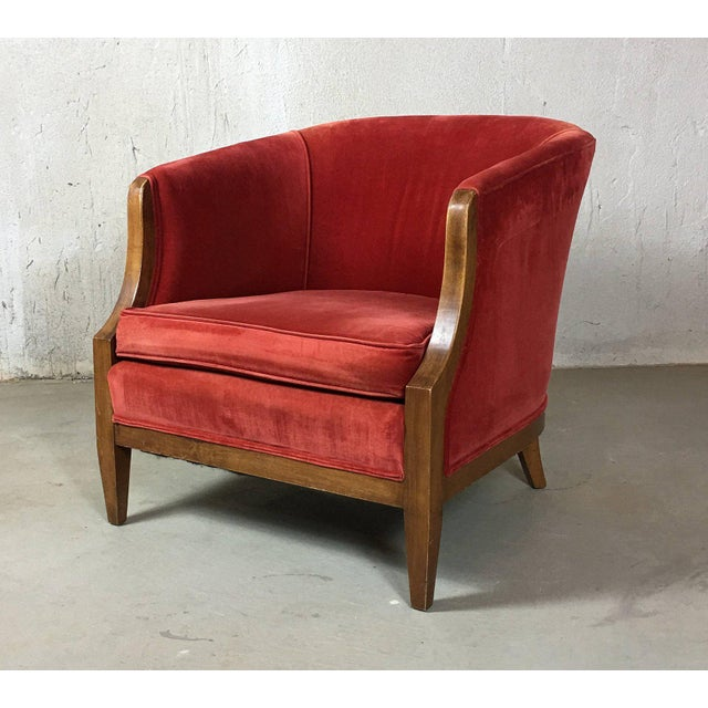 Vintage Mid-Century Red Velvet Tub Chair For Sale In Detroit - Image 6 of 11
