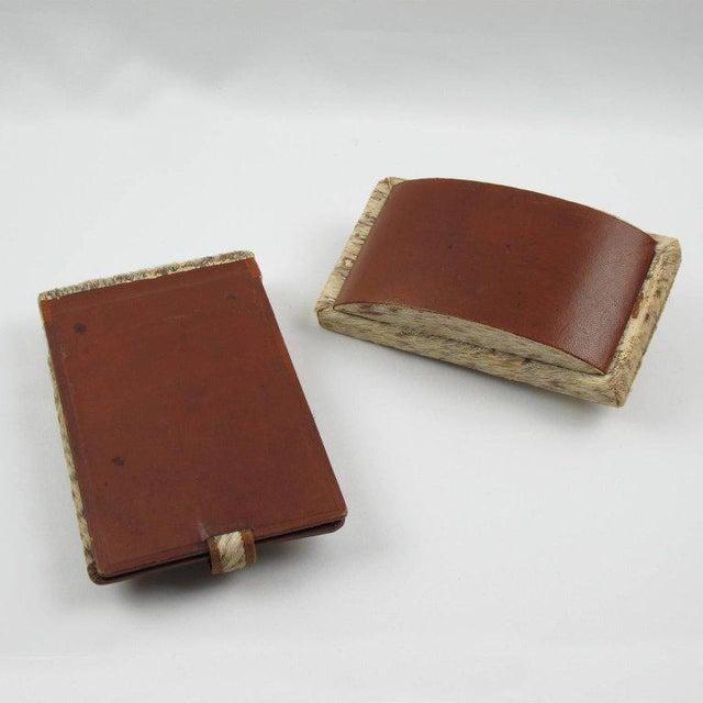 Brown French Dan Karner Art Deco Pony Skin Fur and Leather Desk Set For Sale - Image 8 of 11