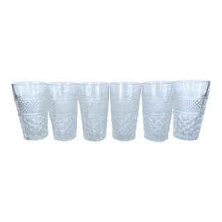 Vintage Anchor Hocking Wexford Clear Glass Crystal Tall Drinking Water Glasses Set of 6 For Sale