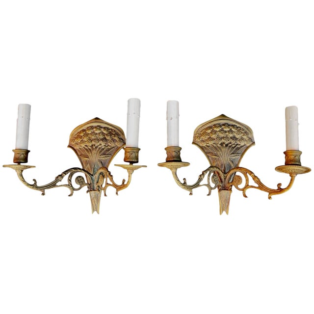French 19th Century Bronze Sconces - a Pair For Sale