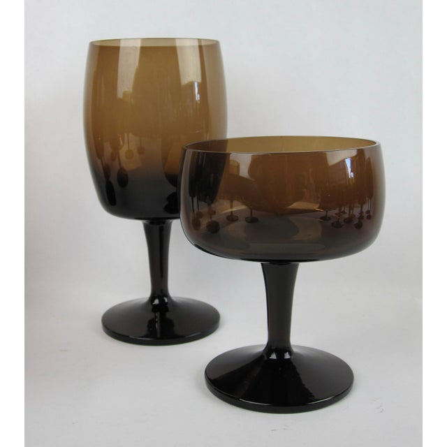 Vintage Smoked Brown Coupes & Goblets - Set of 21 For Sale - Image 4 of 8
