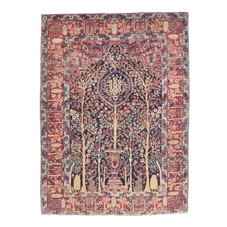 Antique Red Yazd Persian Area Rug For Sale
