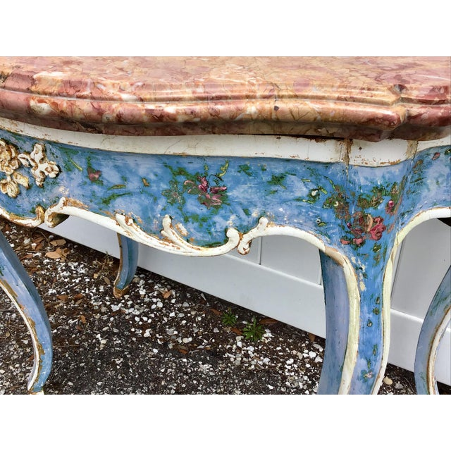 Marble Venetian Painted Marble Top Console Table For Sale - Image 7 of 12