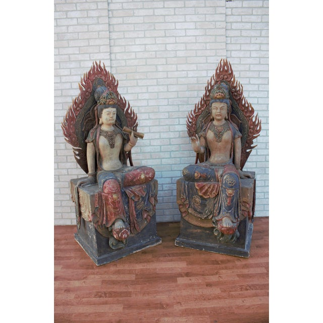 Mid 20th Century Chinese Quan-Yin Sitting Mandorla Statues - a Pair For Sale - Image 13 of 13