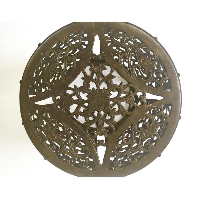 Asian Brass Filigree Garden Stool - Image 4 of 5