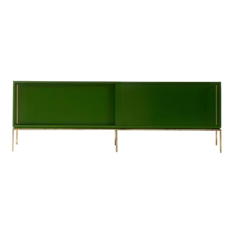 Customizable Re: 379 Grass Green Lacquered Credenza on Brass base For Sale
