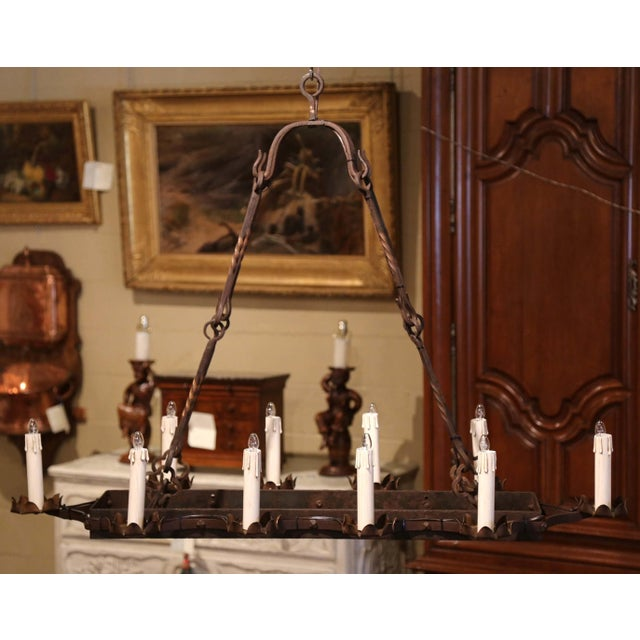 19th Century French Gothic Forged Iron Ten-Light Chandelier For Sale - Image 4 of 13