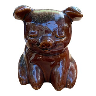 1957 Mid Century Hull Brown and Turquoise Drip Glaze Ceramic Piggy Bank For Sale