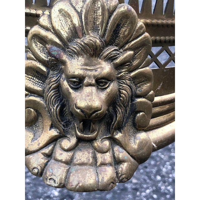 Brass Pierced Brass Fireplace Fender With Lions For Sale - Image 7 of 11